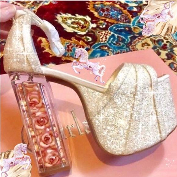 589a71a30d5df4 Glitter platform Barbie wedding bridal shoes 90s